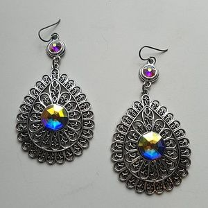 GYPSY MEDALLION DROP EARRINGS OPAL NEW